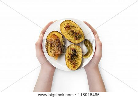 Baked Potato With Bacon In A White Plate .