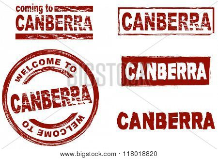 Set of stylized ink stamps showing the  city of Canberra