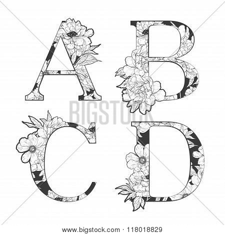 Vector flower alphabet.