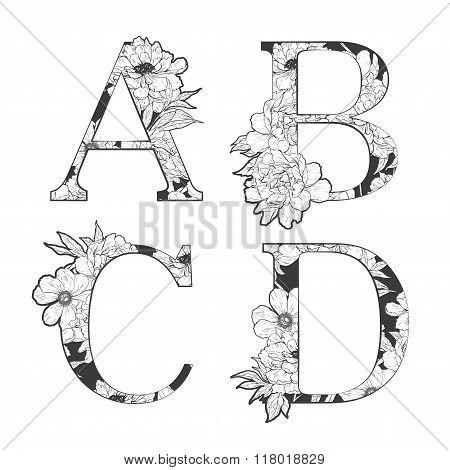 Vector flower alphabet.