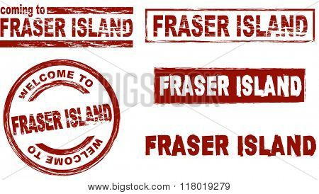 Set of stylized ink stamps showing the term Fraser Island