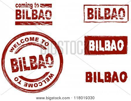 Set of stylized ink stamps showing the city of Bilbao