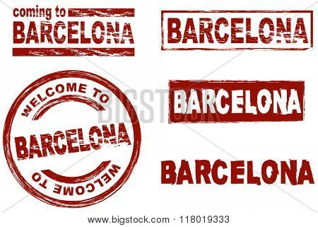 Set of stylized ink stamps showing the  city of Barcelona