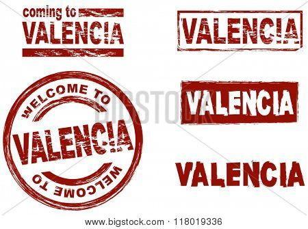 Set of stylized ink stamps showing the city of Valencia