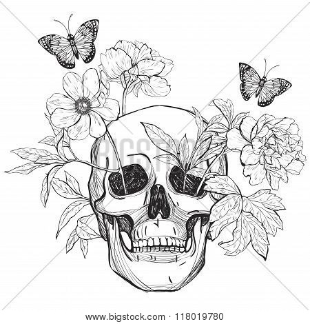 Skull, flowers and butterfly.