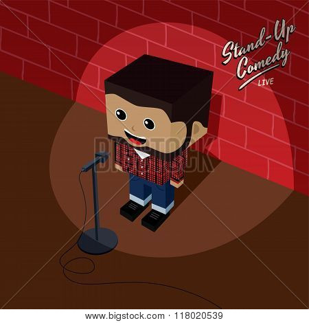 male stand up comedian isometric cartoon