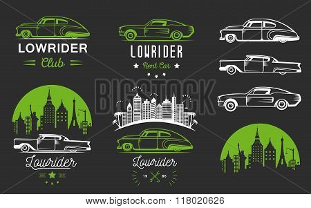 Set vintage lowrider logo badge sign emblems sticers and elements design. Collection classic and retro old car icon - Stock Vector