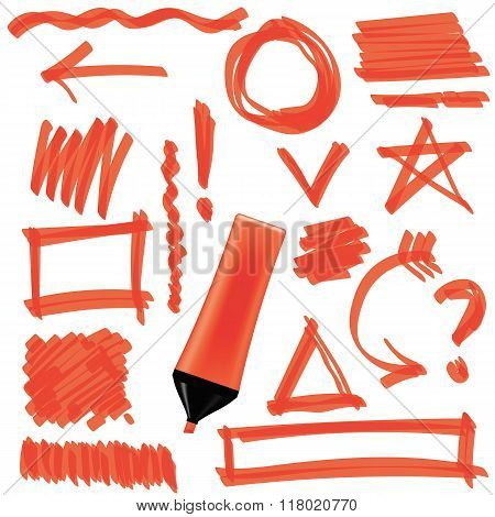 Orange Marker Isolated Set of Graphic Signs