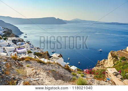 SANTORINI, GREECE - AUGUST 06, 2015: Santorini island at morning. It is the largest island of a small, circular archipelago which bears the same name and is the remnant of a volcanic caldera