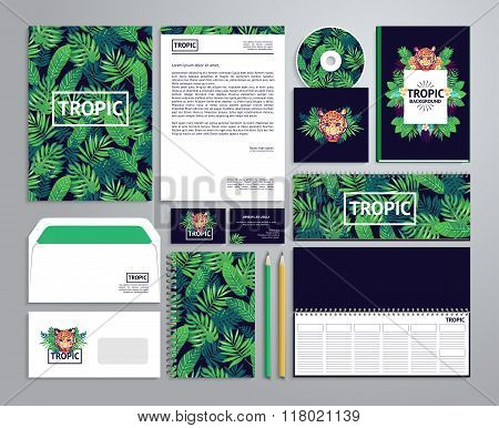 Corporate identity templates in tropical style.