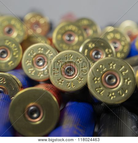 Many Hunting Cartridges Close Up