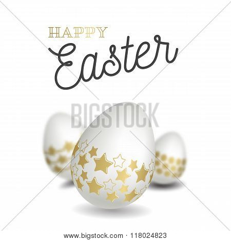 Happy easter with easter eggs. Vector illustration