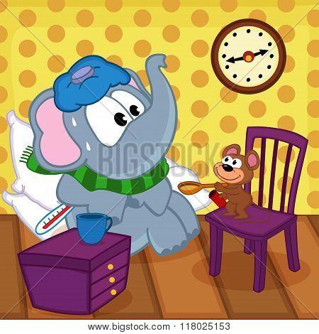 mouse heals sick elephant
