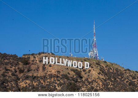 HOLLYWOOD - January 26: The world famous landmark Hollywood Sign in Hollywood, California.