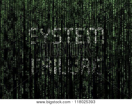 System Failure message superimposed on computer generated matrix-like background