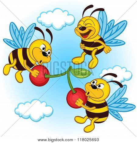 bee and cherry - vector illustration, eps