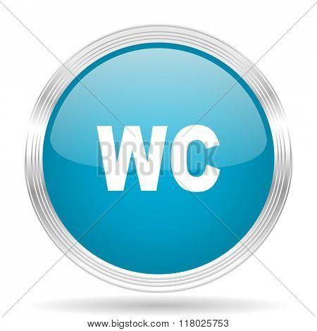 toilet blue glossy metallic circle modern web icon on white background