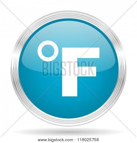 fahrenheit blue glossy metallic circle modern web icon on white background
