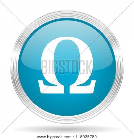 omega blue glossy metallic circle modern web icon on white background