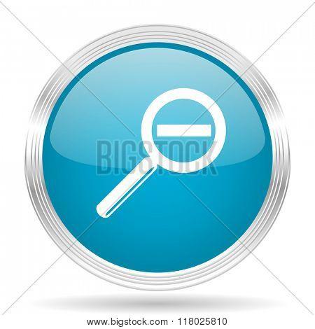 lens blue glossy metallic circle modern web icon on white background
