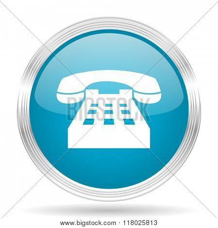 phone blue glossy metallic circle modern web icon on white background