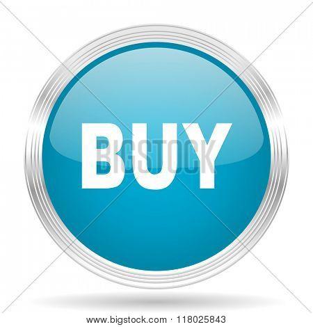 buy blue glossy metallic circle modern web icon on white background