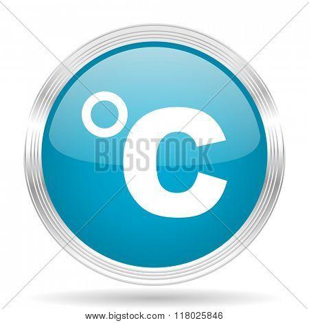 celsius blue glossy metallic circle modern web icon on white background