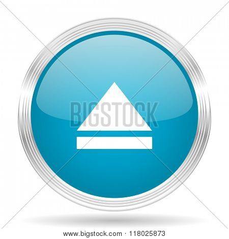 eject blue glossy metallic circle modern web icon on white background