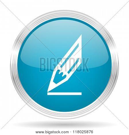 pencil blue glossy metallic circle modern web icon on white background