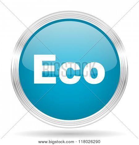 eco blue glossy metallic circle modern web icon on white background