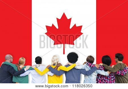 Canada National Flag Teamwork Diversity Concept