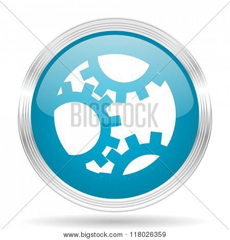 gear blue glossy metallic circle modern web icon on white background