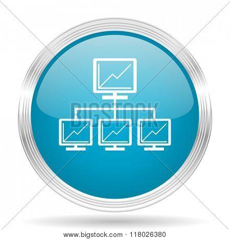 network blue glossy metallic circle modern web icon on white background