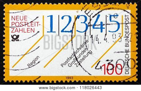 Postage Stamp Germany 1993 New Postal Codes