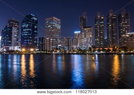 Bangkok, Thailand - February 12, 2016 : Bangkok City Night View And Benchakitti Park Bangkok City Th