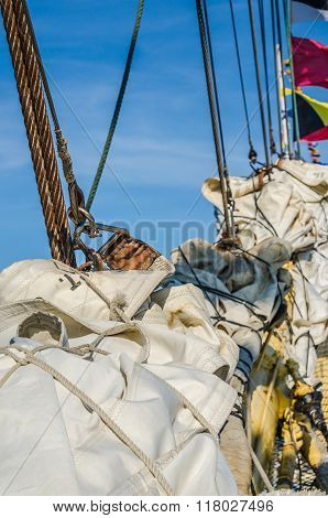 Sails Of An Old Sailing Vessel