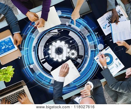 Technology Digital Network Cog Teamwork Concept
