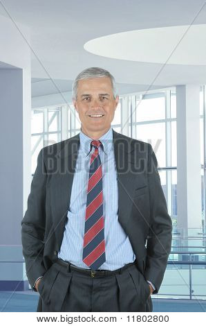Businessman In Office Lobby