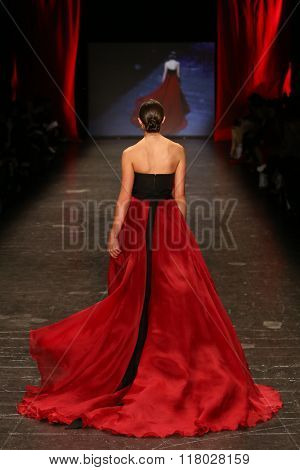 NEW YORK-FEB 11: Miss USA 2012 Olivia Culpo wears Marchesa at Go Red for Women Red Dress Collection 2016 Presented by Macy's at New York Fashion Week on February 11, 2016 in New York City.
