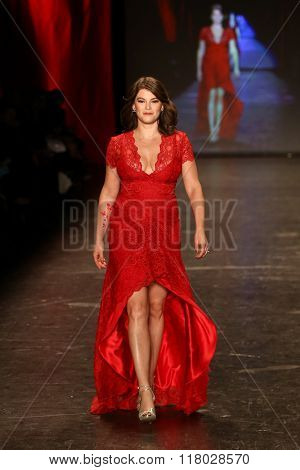 NEW YORK-FEB 11: Gail Simmons wears Nicole Miller at Go Red for Women Red Dress Collection 2016 Presented by Macy's at New York Fashion Week at Moynihan Station on February 11, 2016 in New York City.