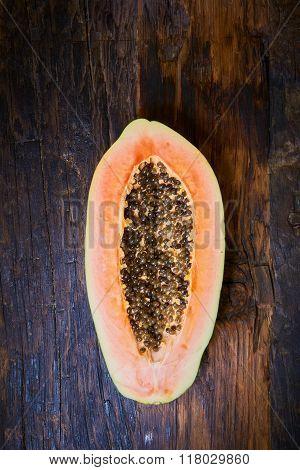 top view sliced fresh papaya