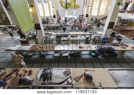 Funchal, Portugal - June 25: Fresh Fish In Mercado Dos Lavradores.on June 25, 2015 In Madeira Island