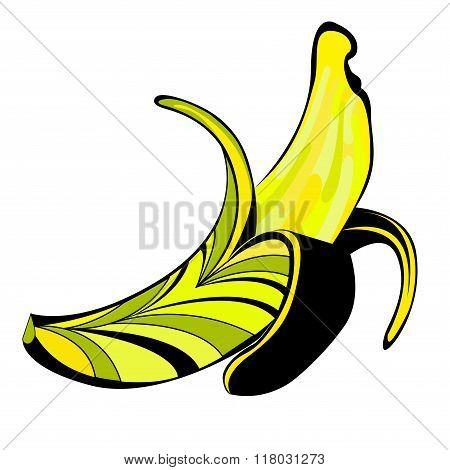 Vector illustration of half peeled banana