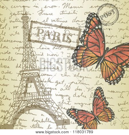 table top with sketching paper and monarch butterfly on hand-drawn writing background with  eiffel tower