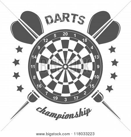 Darts championship labels, badges, vector logos