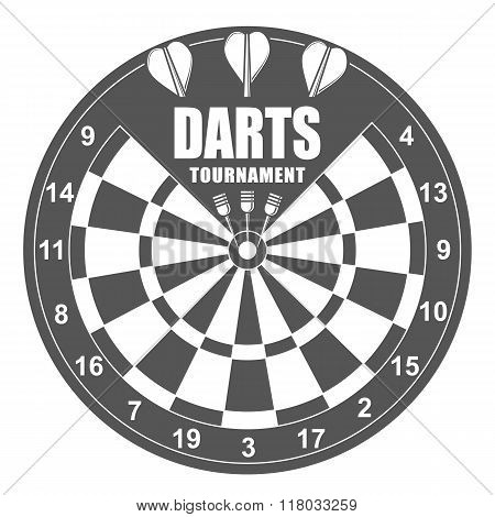 Darts labels set, badge, vector logos