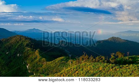 Phu chi fa in Chiangrai Thailand and blue sky