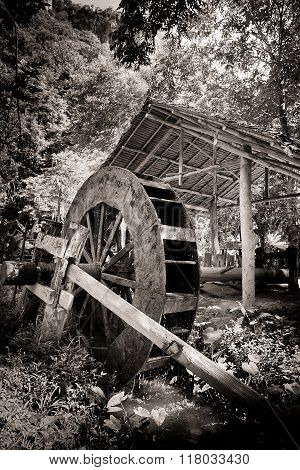 The Wooden windmill in monochrome of Thai style