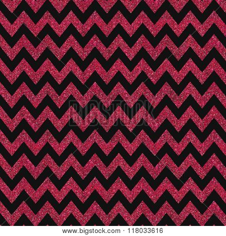 Pattern With Red Glitter Textured Chevron On Black Background.