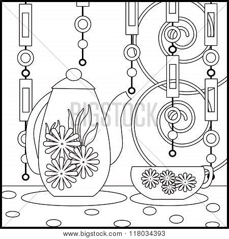Tea Background With Cup, Pot And Flowers. Pattern For Menu, Wallpaper, Coloring Books For Kids And A